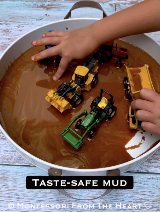 *Toddler-Taste-Safe Mud Tractors Sensory Bin