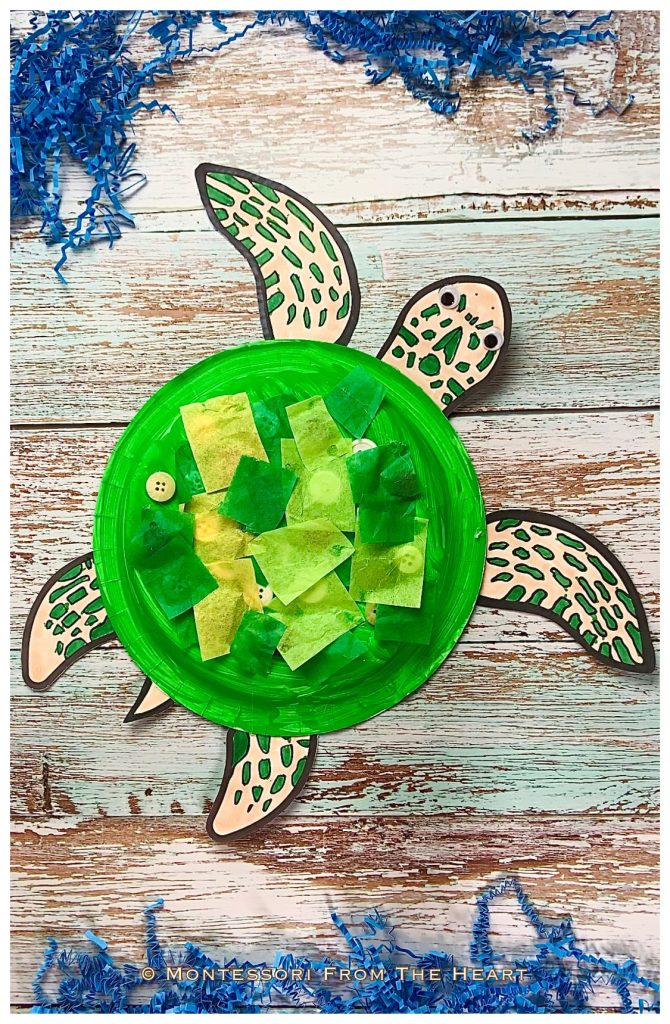 *Turtle Paper Plate Toddler Craft Tissue Paper