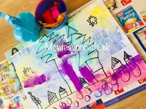 Maľovanie s rozprašovačom a krepovým papierom