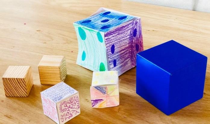 Montessori geometrické telesá, plášť kocky