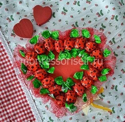 Coração do aniversário de doces