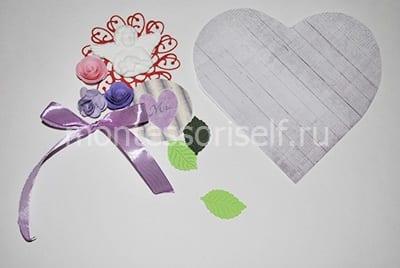 Trái tim và vật liệu giấy cho DIY
