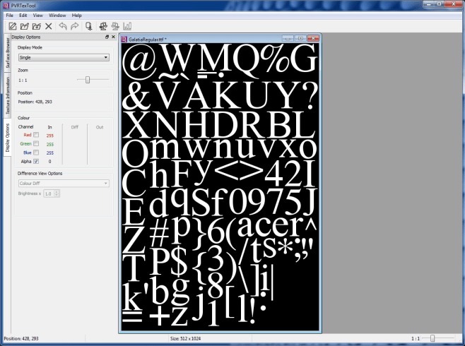 PVRTexTool converts fonts for Lightwing content development