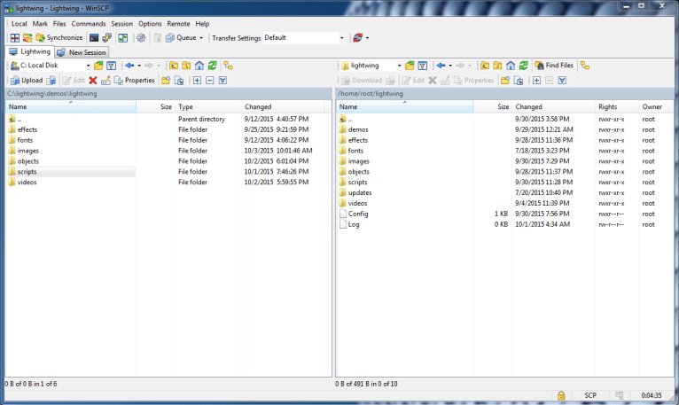 Lightwing's secuirty Technology uses WinSCP