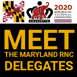 Meet the Delegates graphic Square with Maryland Flag Colors
