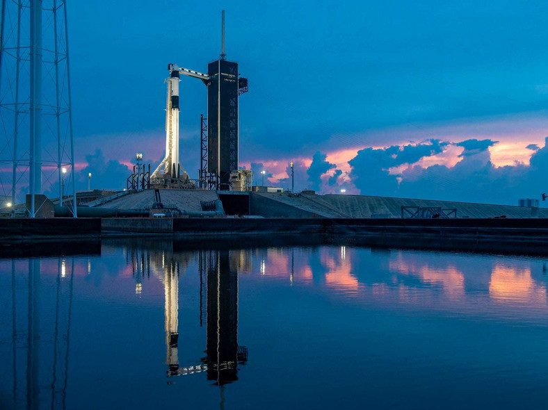 America Returns to Space Falcon rocket on the launchpad
