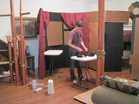 Rebekah builds the set