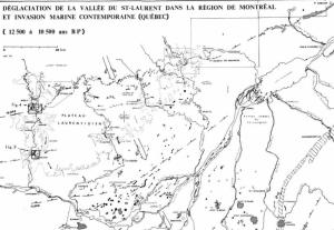 Carte de la vallée du Saint-Laurent il y a 10.000 ans