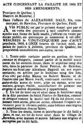 Gazette Officielle du québec 17 avril 1869