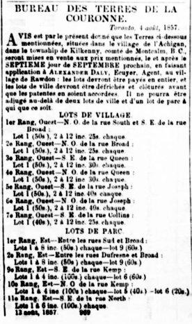 Le Journal de Québec 18 août 1857