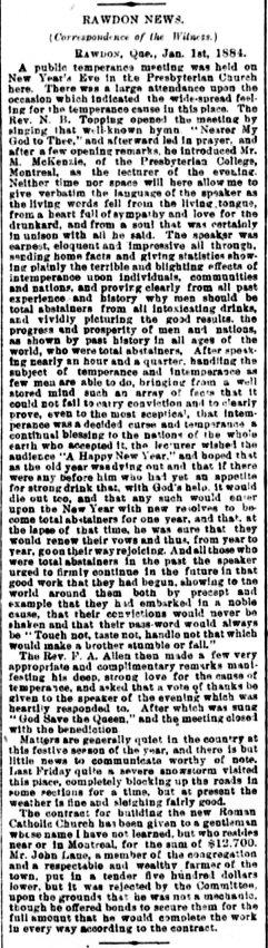 Daily Witness 4 janvier 1884