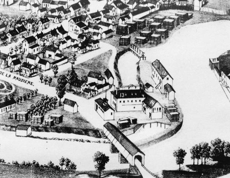 Joliette 1881 - Les moulins et le bois sur la rive