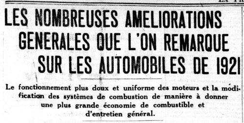 Améliorations 1921