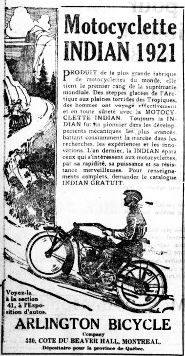 Motocyclette Indian 1921
