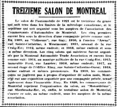 Treizième salon de l'auto de Montréal