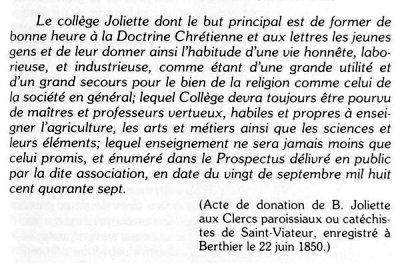 Acte de donation de B. Joliette