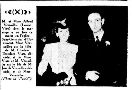 Mariage de Louise Viau et Alfred Versailles