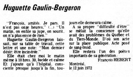Le Devoir 15 juin 1972