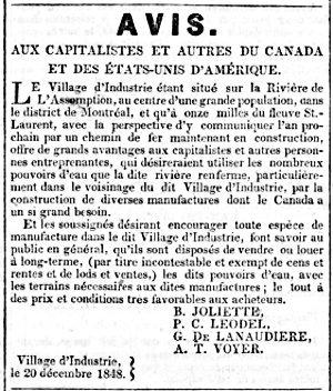L'Avenir - 10 janvier 1849