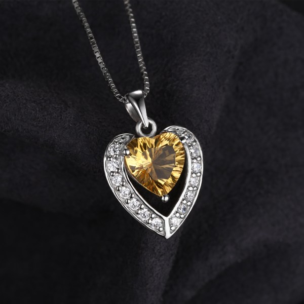 2.92 Ctw Yellow Heart Citrine Pendant With Chain In