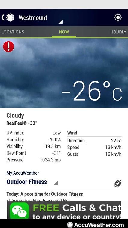 -26 degrees in WEstmount