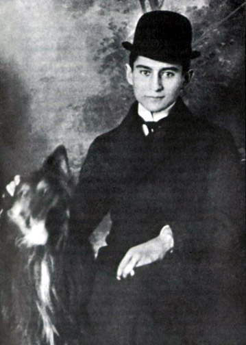 Franz Kafka with Bowler Hat and Dog