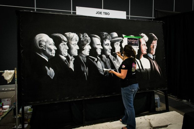 Doctor Who canvas in progress. Photo Jean Frederic Vachon.