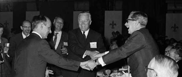 René Lévesque, Jean Lesage, and Daniel Johnson Sr. during the inauguration of the Manic-5 hydroelectric dam, 1968. Source: Musée Virtuel/Hydro-Québec.
