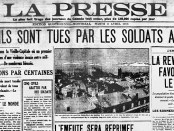 La Presse's front page the day after the Quebec riots. Photo courtesy the McCord Museum.