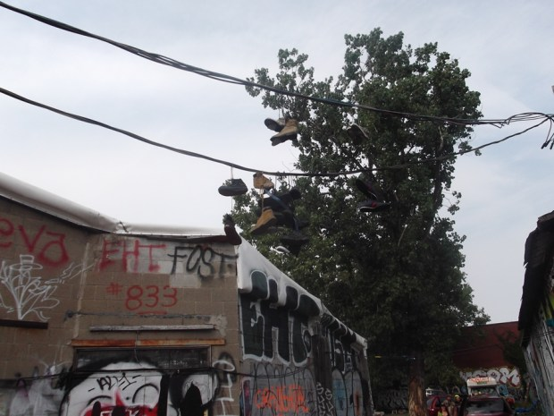 Shoes on the wire. Fattal Fest. Photo Christ Aitkens