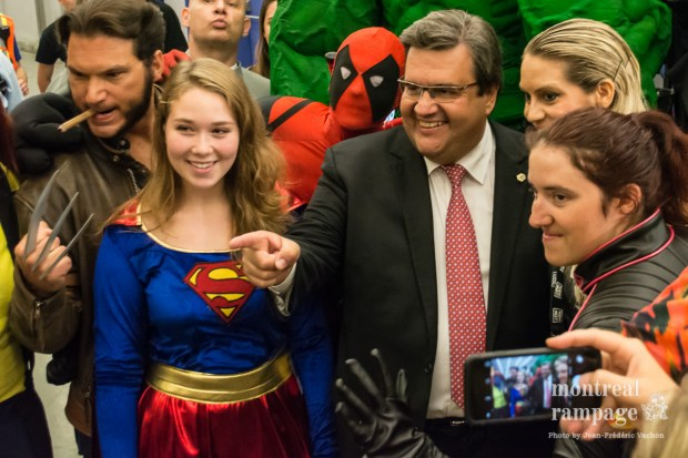 Mayor Dennis Corderre and Cosplayer. Montreal Comiccon. July 08, 2016. Photo Jean Frederic Vachon.