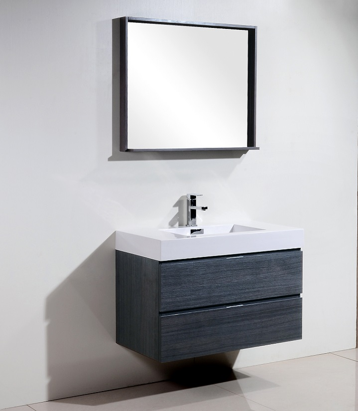 "Bathroom Cabinets Mirrors Bliss 36"" High Gloss Gray Oak Wall Mount Vanity"