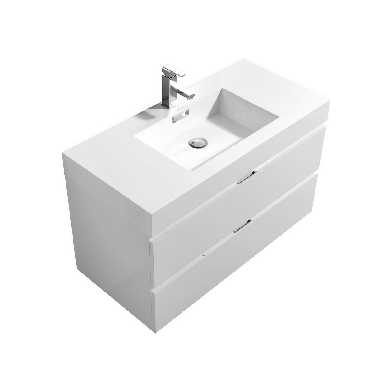 Bliss 40 High Gloss White Wall Mount Modern Bathroom Vanity