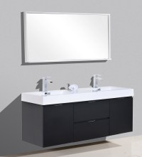 "BLISS 60"" BLACK WALL MOUNT DOUBLE SINK VANITY"