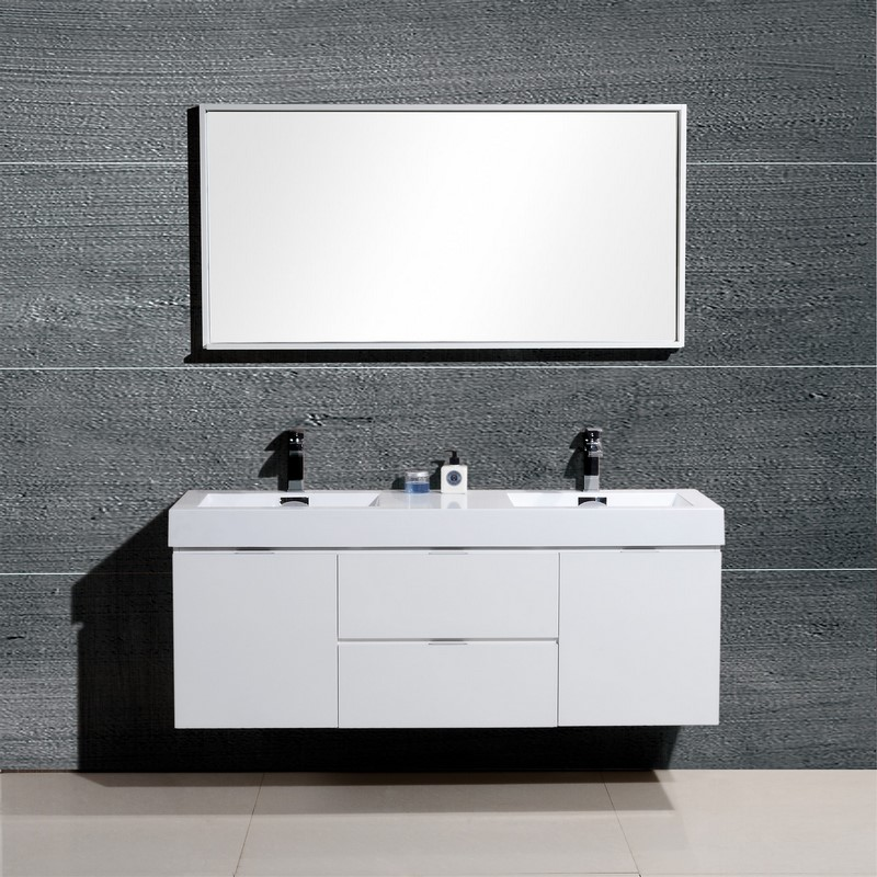 BLISS 60 HIGH GLOSS WHITE WALL MOUNT DOUBLE SINK VANITY