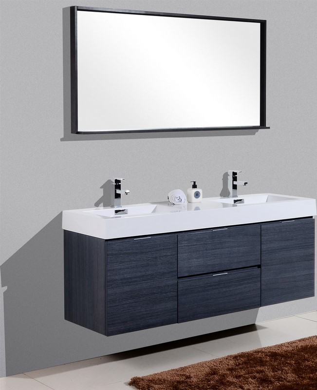 BLISS 60 HIGH GLOSS GRAY OAK WALL MOUNT DOUBLE SINK VANITY