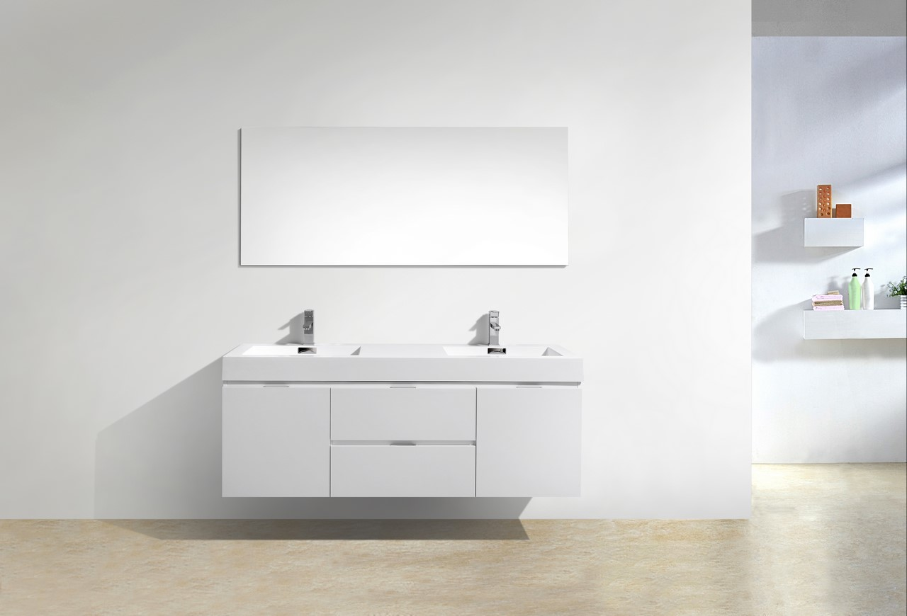Bliss 60 High Gloss White Wall Mount Double Sink Bathroom