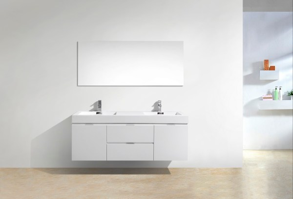 "Bliss 60"" High Gloss White Wall Mount Double Sink Bathroom"