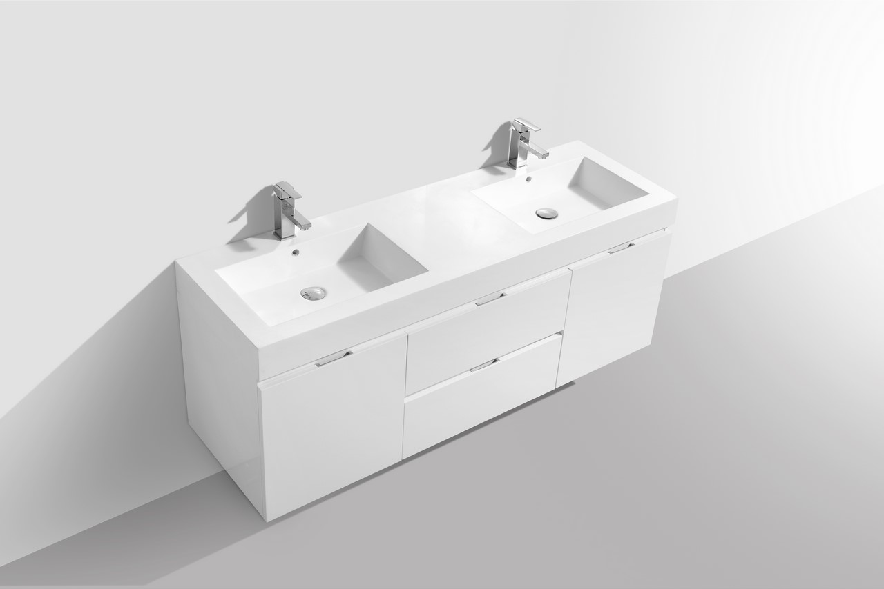 Bliss 60 High Gloss White Wall Mount Double Sink Bathroom Vanity