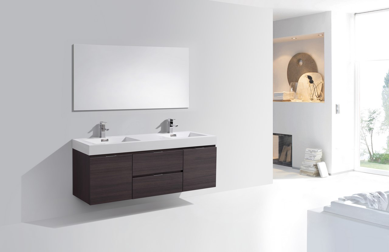 Bliss 60 High Gloss Gray Oak Wall Mount Double Sink