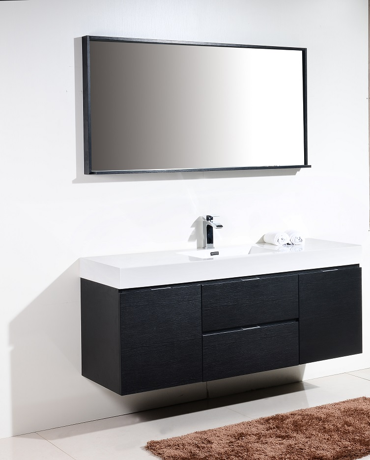 BLISS 60 BLACK WALL MOUNT SINGLE SINK VANITY