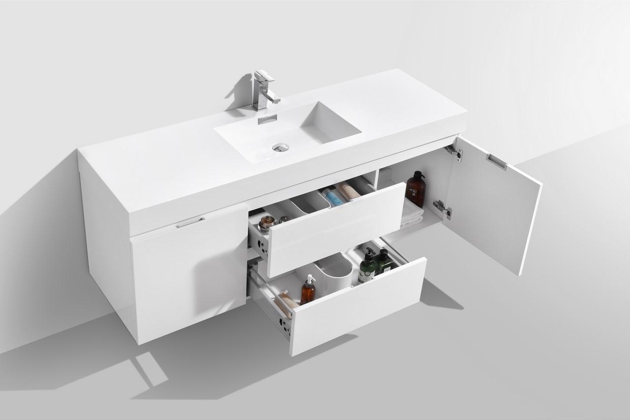 Bliss 60 High Gloss White Wall Mount Single Sink Bathroom