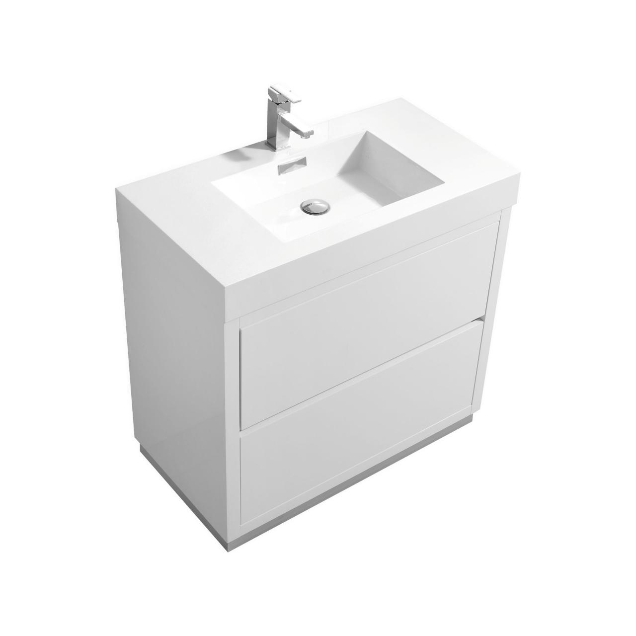 Bliss 36 High White Floor Mount Modern Bathroom Vanity