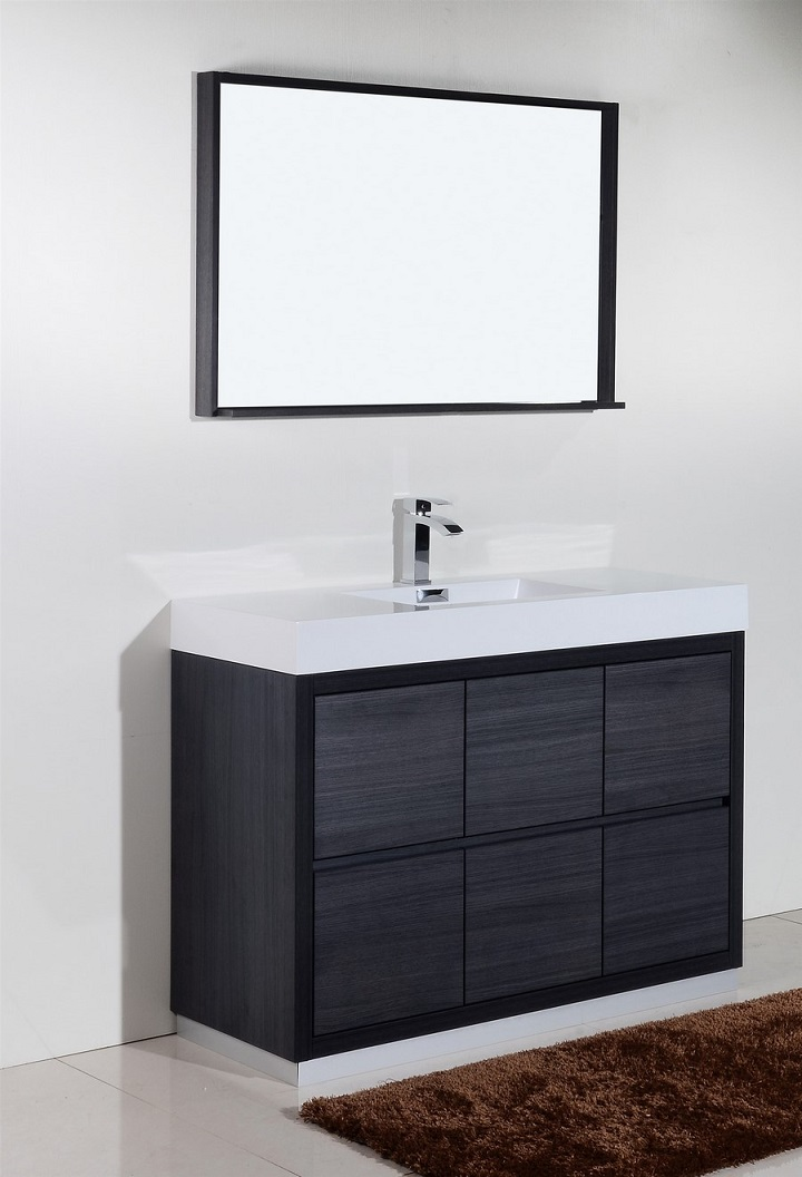 Bliss 48 Gray Oak Floor Mount Modern Bathroom Vanity
