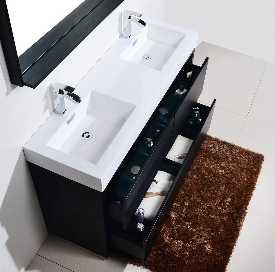 Bliss 60 Black Double Sink Floor Mount Bathroom Vanity