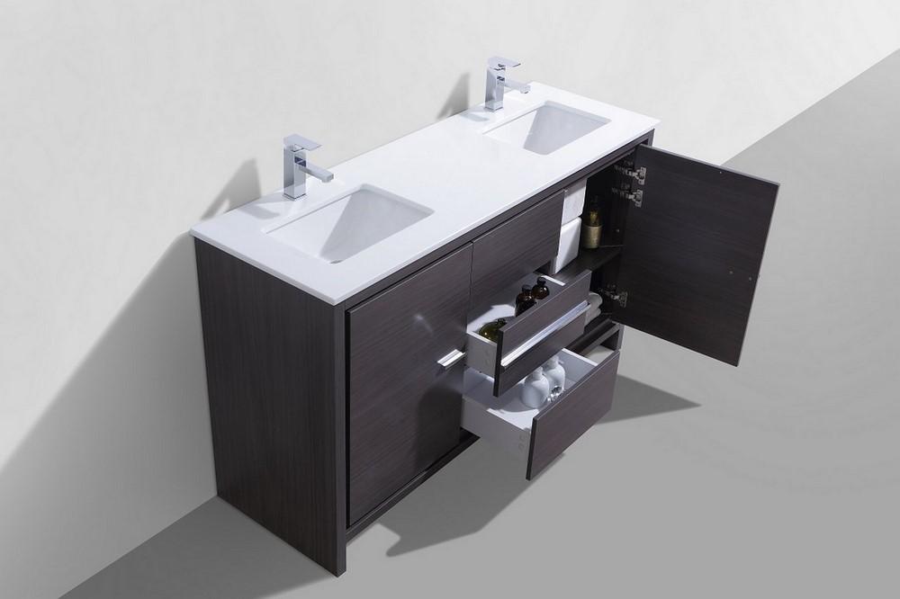 KubeBath Dolce 60 Double Sink Gray Oak Modern Bathroom Vanity