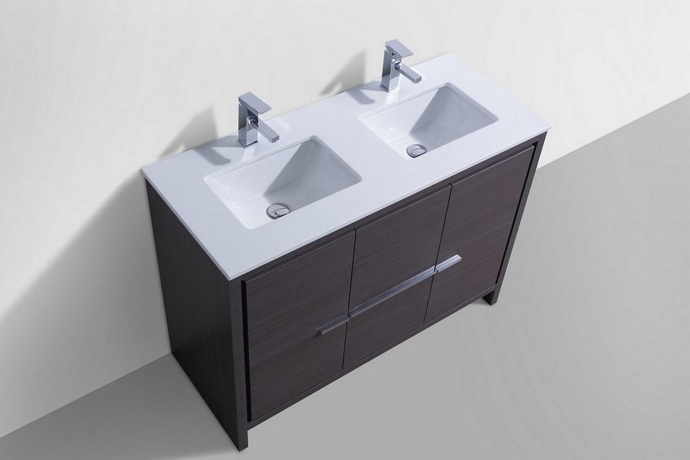 KubeBath Dolce 48 Double Sink Gray Oak Modern Bathroom Vanity