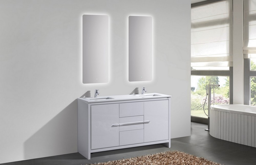 KubeBath Dolce 60 Double Sink High Gloss White Vanity