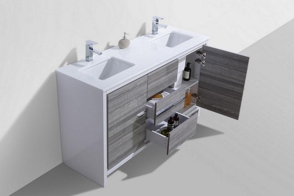 KubeBath Dolce 60 Double Sink Ash Gray Bathroom Vanity