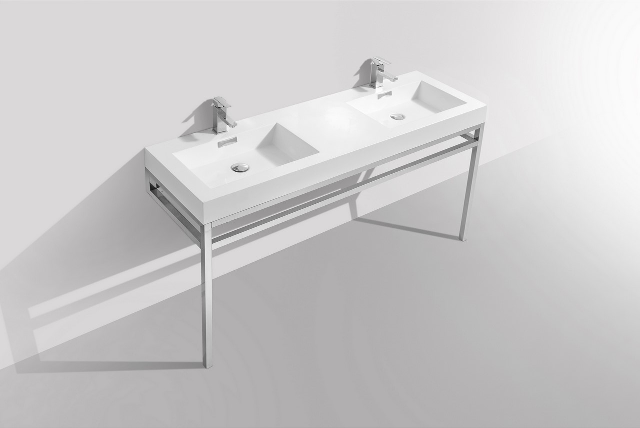 Haus 60 Double Sink Stainless Steel Console w White